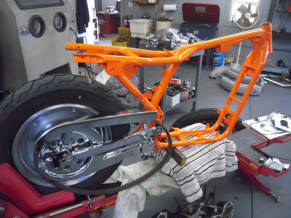 As you can see, the frame has been powdercoated orange and the rear